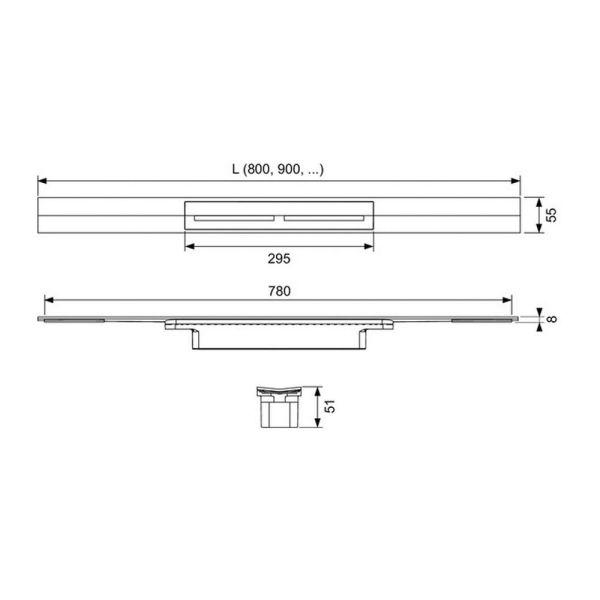 Душевой канал TECEdrainprofile в комплекте с дизайн-вставкой 673002+671210 (хром глянцевый)